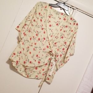 Seven Forty Two Wrap Floral Print Blouse